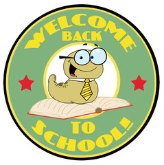 Green Worm On A Green Welcome Back To School Circle