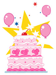 Cake With Pink And White Frosting, Balloons And Stars
