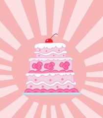 Wedding Cake On A Shining Pink Background