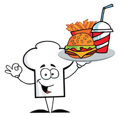 Chef Hat Guy Serving Fast Food