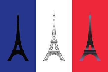 Set of three vector Eiffel Tower