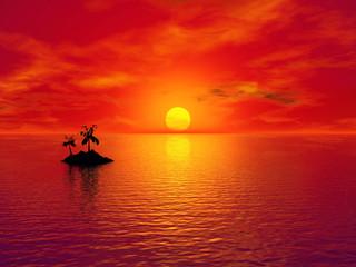Fond de hotte en verre imprimé Rouge Paradise island