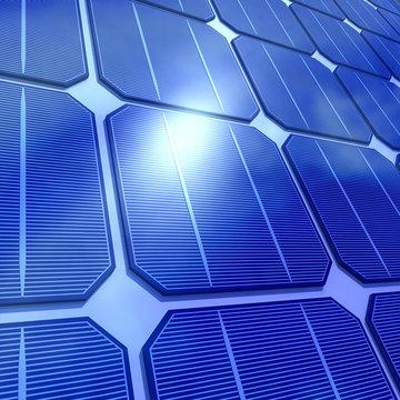 3d solar panels close up