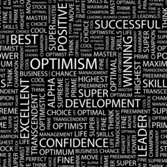 OPTIMISM. Seamless vector background. Wordcloud illustration.