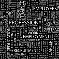 PROFESSION. Seamless vector pattern with word cloud.