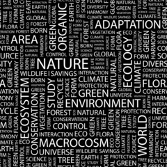 NATURE. Seamless vector pattern with word cloud.
