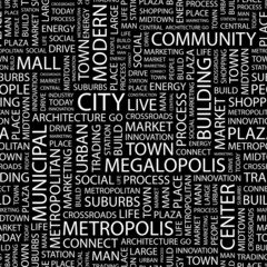 CITY. Seamless vector pattern with word cloud.