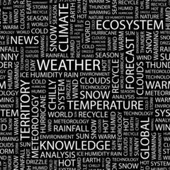 WEATHER. Seamless vector pattern with word cloud.