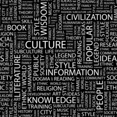 CULTURE. Seamless vector pattern with word cloud.