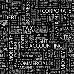 TAX. Seamless vector pattern with word cloud.