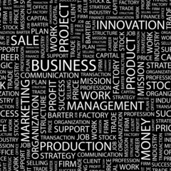 BUSINESS. Seamless vector pattern with word cloud.