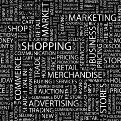 SHOPPING. Seamless vector pattern with word cloud.