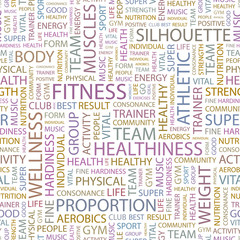 FITNESS. Seamless vector background.