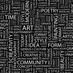 ART. Seamless vector pattern with word cloud.