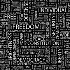 FREEDOM. Seamless vector pattern with word cloud.