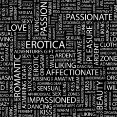EROTICA. Seamless vector pattern with word cloud.