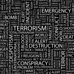 TERRORISM. Seamless vector pattern with word cloud.