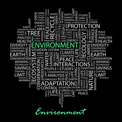 ENVIRONMENT. Word collage on black background.