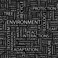 ENVIRONMENT. Seamless vector pattern with word cloud.