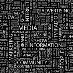 MEDIA. Seamless vector pattern with word cloud.