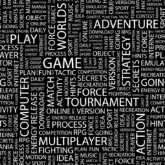 GAME. Seamless vector pattern with word cloud.