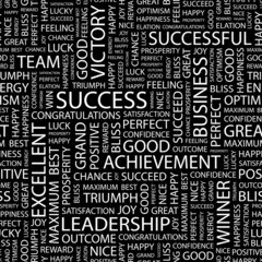 SUCCESS. Seamless vector background. Wordcloud illustration.
