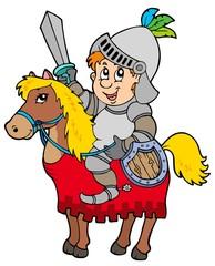 Spoed Foto op Canvas Ridders Cartoon knight sitting on horse