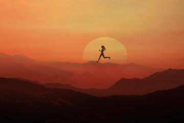 sunset, jogging