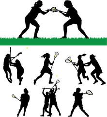 Women's Lacrosse Vector Silhouettes