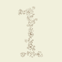 Floral font. Number 1