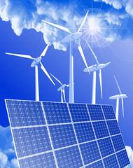 wind-driven generators, solar power systems & blue sky