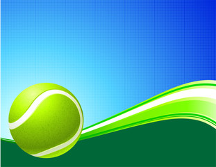 Tennis Ball on Abstract Internet Background