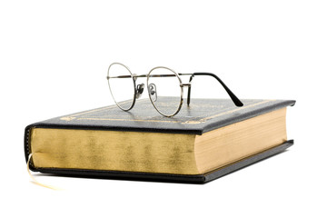 Vintage book with glasses