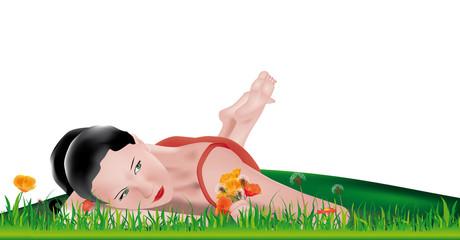 ragazza nell'erba (sfondo bianco)