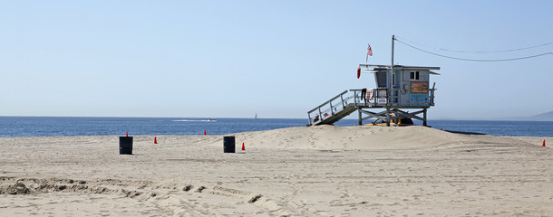 lifeguard station Santa Monica Beach Los Angeles California.