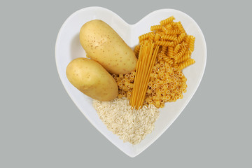 carbohydrates in heart shaped dish