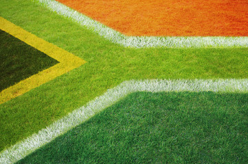 South African flag on football or rugby pitch