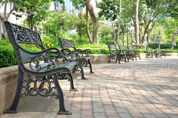 Iron bench in park, at Bangkok Thailand