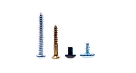 A lot of screws and bolts, isolated on white