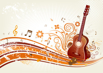 red guitar, floral background