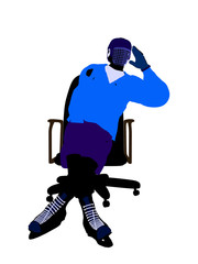 Male Hockey Player Sitting On A Chair Illustration Silhouette