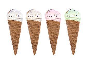 four conical ice cream on a white background