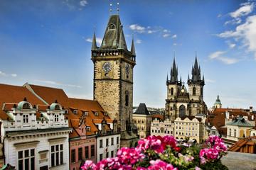 Rooftop view over Orloj, Prague, Czech