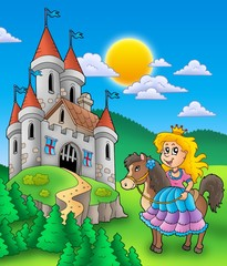In de dag Pony Princess on horse with castle