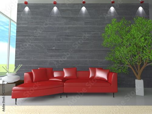 """""""Soggiorno con divano rosso"""" Immagini e Fotografie Royalty Free su Fotolia.com - File 22357879"""