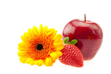 flower, strawberry and apple isolated on white