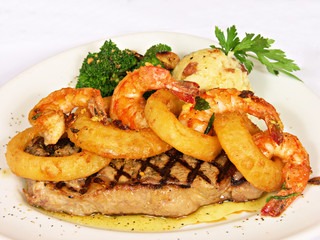 Porterhouse Steak with Shrimp