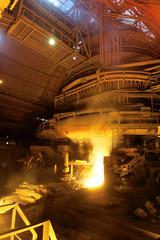Molten liquid iron is poured.