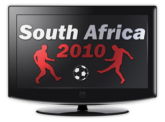 "Flatscreen TV with ""South Africa 2010"" on screen"