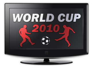 "Flatscreen TV with ""World Cup 2010"" on screen"
